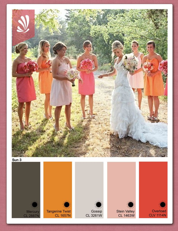 Coral and Orange Wedding: Wedding Color, Orange Wedding, Bright Color, Wedding Ideas, Color Bridesmaid, Color Theme, The Dresses, Bridesmaid Dresses Color, Bridesmaid Color