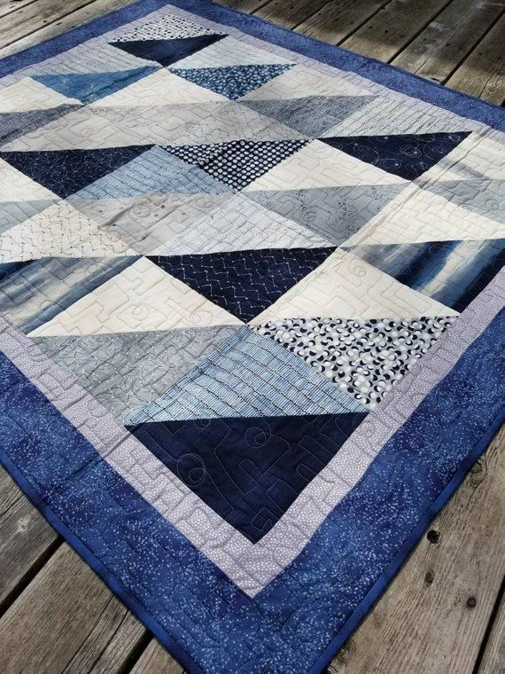 Blue Gray Quilt Celestial Throw Blanket Twin Boy Nocturne Eclipse Constellation Cloud Orbit Galaxy Moon Phases Star Half Square Triangle Hst Grey Quilt Quilts Decor Quilts