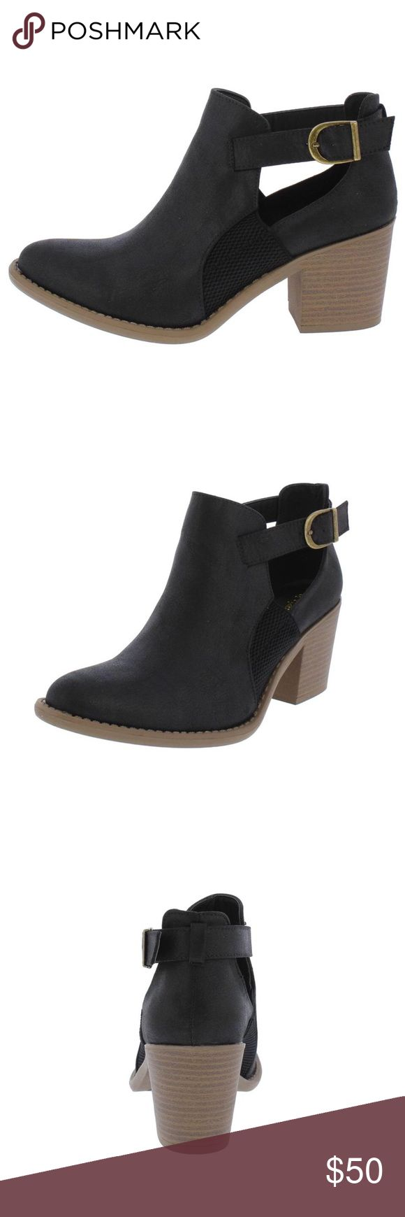 TOBIN BLACK SIDE STRAP CUT OUT ANKLE BOOT ON DEMAND  These boots are ready for your next adventure!  Features rear wrapped buckle strap with side cut outs. Slide on construction. An almond toe paired with a short stacked heel. Man made materials.  Approximate heel height 2 1/2 inches SHIPPING MIGHT TAKE UP TO 3 DAYS DUE TO AVAILABILITY Qupid Shoes Ankle Boots & Booties