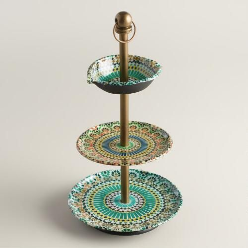 One of my favorite discoveries at WorldMarket.com: Multicolor Mosaic Enameled Three-Tiered Jewelry Stand