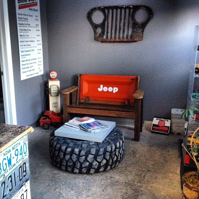 Tire table for coloring station for warehouse. Also love the car part hanging on wall