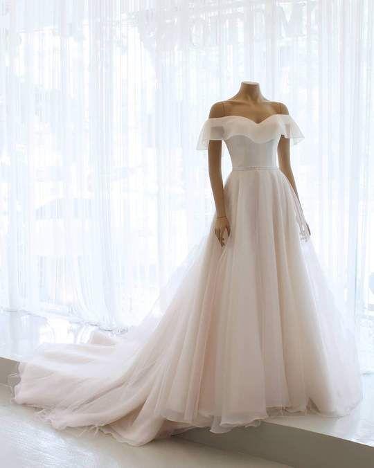 Popular Off the Shoulder Elegant A Line Beach Bridal Long Wedding Dresses, BGP27 – Hochzeitskleid