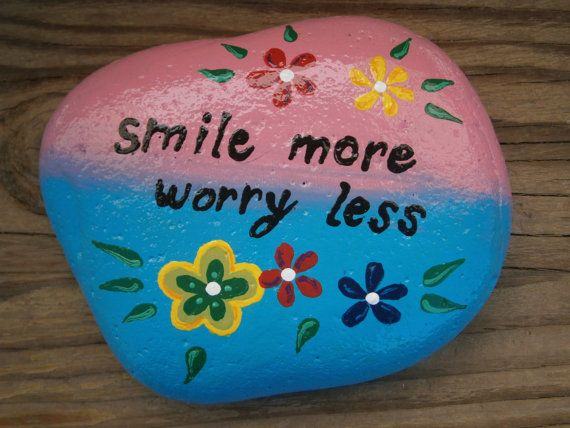 Painted rock Smile more worry less by PlaceForYou on Etsy, $9.99