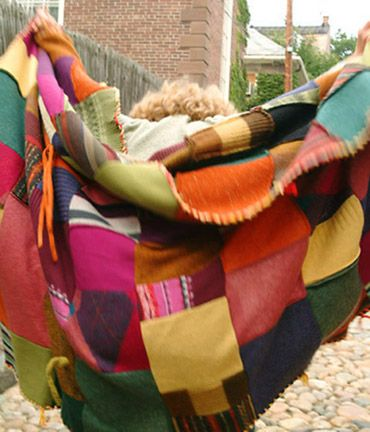 I'm in the middle of creating a felted wool  patchwork blanket...it's not beautiful like this. I'm inspired!