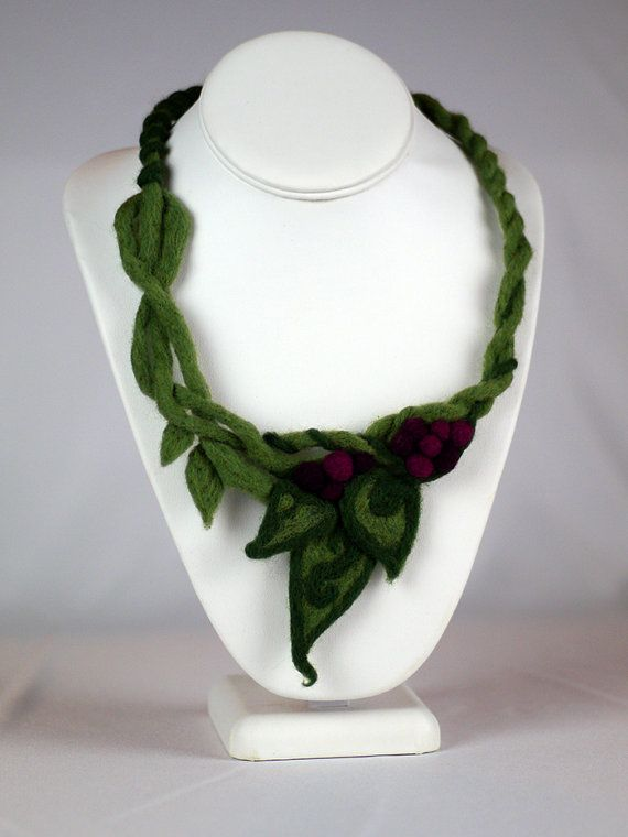 Twisted Vines and Berries Felted Necklace $56 by CorbeauxPDX on Etsy