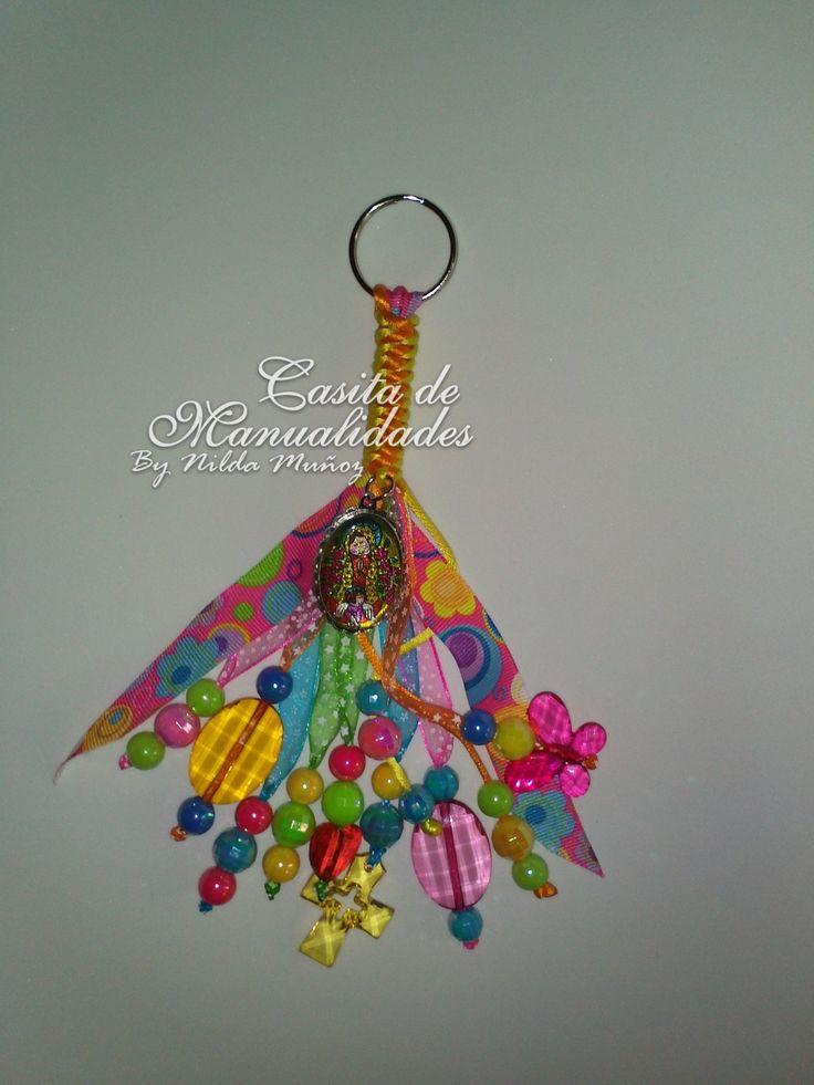 Llavero con la Virgencita Plis,   Para Souvenirs de Primera Comunión o cumpleaños. MX$60.00