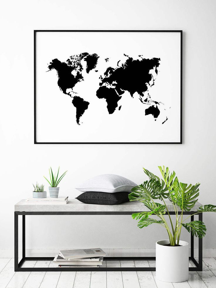 Posters and prints with world maps are always nice to have on the wall. Decorate your walls with a world map and dream about your favorite destination.