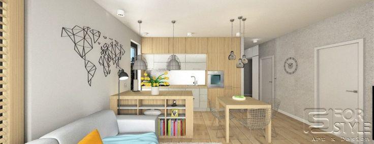 nowoczesny salon, salon z aneksem kuchennym, shutters, okiennice, mapa, mapa na ścianie, wyspa w kuchni, wyspa w salonie, wysoka zabudowa w kuchni, kuchnia w kolorze drewna, wypoczynek, oświetlenie, oświetlenie nad wyspą, wiszące oświetlenie, duże okna w salonie, ciemne okna, jasne drewno, beton na ścianie, beton