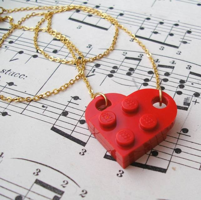 Red LEGO Heart Necklace Gold (or Silver) Plated Chain £6.00