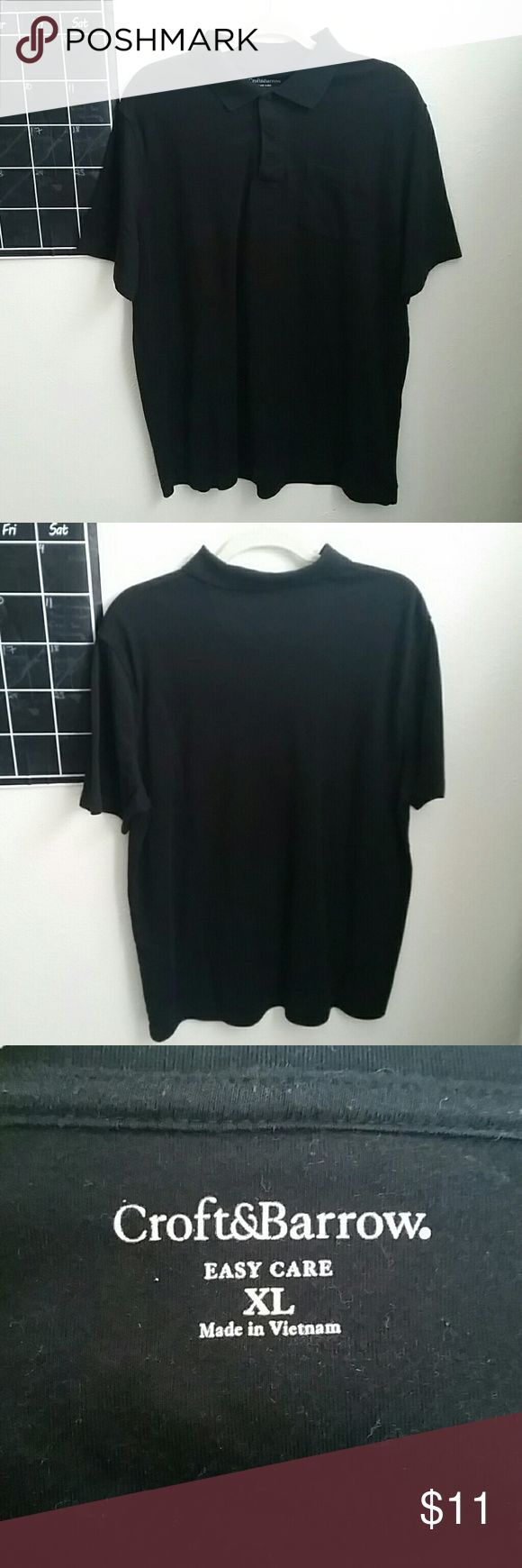 Casual black polo shirt In very good condition. Only worn once. Soft material. Has a left side pocket. Great ss a professional look or for school uniform! croft & barrow Shirts Polos