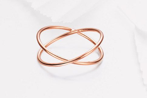 18K Rose gold criss-cross ring Gold by CavajewelryDesign on Etsy