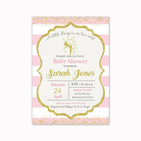 Fairy Baby Shower Invitation Pink and Gold Baby Shower