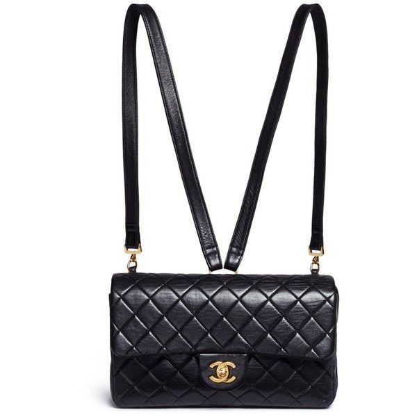 Vintage Chanel Quilted lambskin leather 2.55 backpack ($6,025) ❤ liked on Polyvore featuring bags, backpacks, chanel, black, shoulder bag, flap backpack, vintage rucksack, chanel backpack and flap shoulder bag