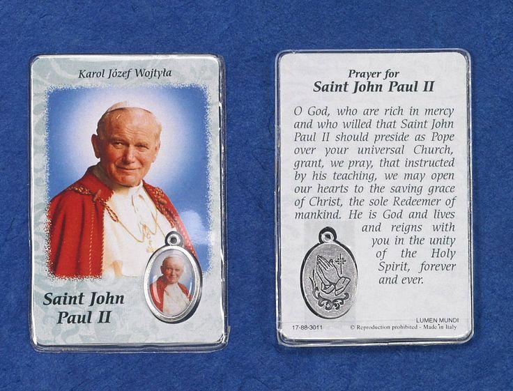 Reginas Catholic Gifts - SAINT JOHN PAUL II (ENGLISH) PRAYER CARD WITH COLOR MEDAL. SOLD IN PACKS OF 12, $39.50 (http://www.reginascatholicgifts.com/saint-john-paul-ii-english-prayer-card-with-color-medal-sold-in-packs-of-12/)