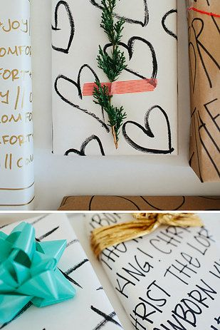 Draw all over plain white paper. | 13 Beautifully Easy Gift Wrapping Ideas