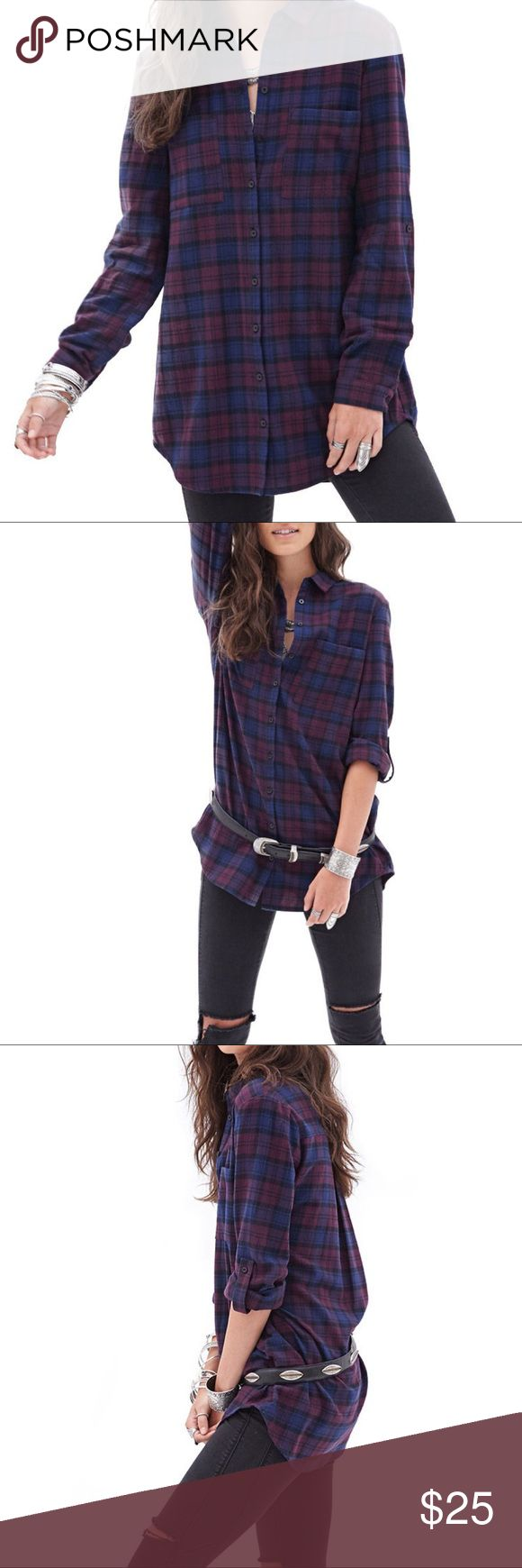 Forever 21 Oversized Flannel Top Offers welcome. New condition. 100% cotton. Warm flannel material. Dark blue, black, & purple, & maroon. I cut out all of the size tags on this, but I haven't worn it. It's a size medium, but fits loose & longer. The sleeves can be worn rolled up/buttoned to a 3/4 sleeve or worn long. Forever 21 Tops Button Down Shirts