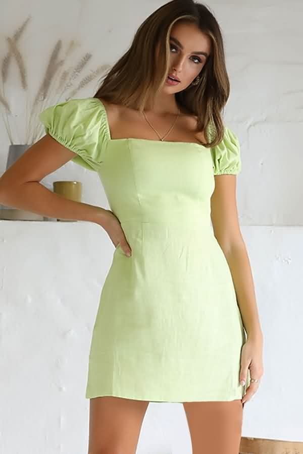 Women Light Green Square Neck Puff Sleeve Casual A Line Dress M In 2020 Green Dress Casual Short Green Dress Tight Green Dress