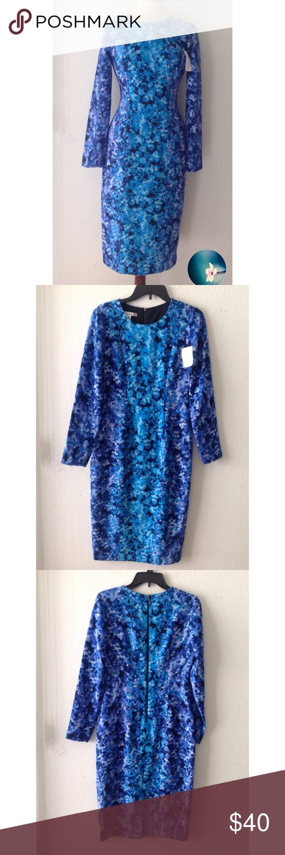 """Maggy London floral sheath midi dress Long sleeve in a blue floral print. midi length, exposed back zipper.  Bust: laying flat armpit to armpit 18 inches. Waist laying flat 15 inches. Length: 45 inches....Brand new with """"last chance"""" dept store tags...no flaws. Maggy London Dresses"""