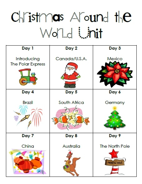 Cute idea to start with The Polar Express and then use the train idea through a 9 day exploration of different countries and their Christmas traditions.