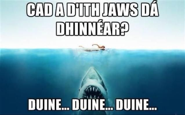 What does Jaw have for dinner? (Duine... Duine... Duine...) Duine = people ; now hum Jaws Theme song, and you will get it!:
