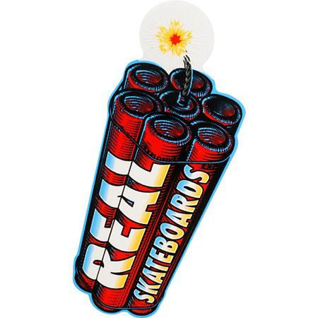 Blow it up with the Real Skateboard Dynamite sticker. This large size sticker features a fuse lit pack of sticks of dynamite that are about to explode! This peel and stick Real sticker is perfect for your deck, binder, or window! So rep the Real brand name anywhere you go with the Dynamite sticker!