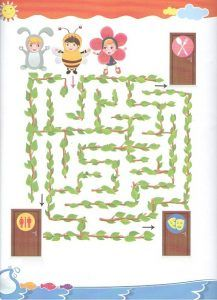 Colored maze worksheet for kindergartners