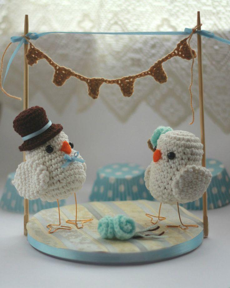 Amigurumi Adorno para torta // Birds for a cake