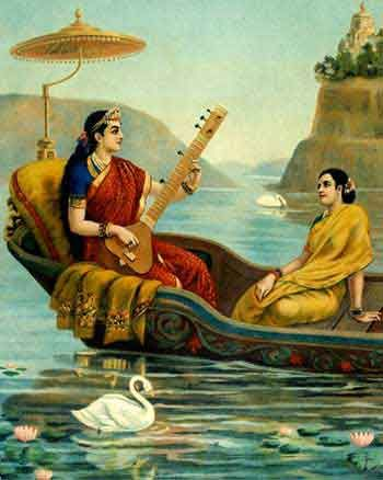 Goddess Saraswathi playing tambura on a river - painting by Raja Ravi Verma
