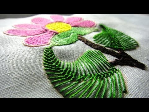 Hand embroidery beautiful pansy flower with long and short stitch shading work - YouTube