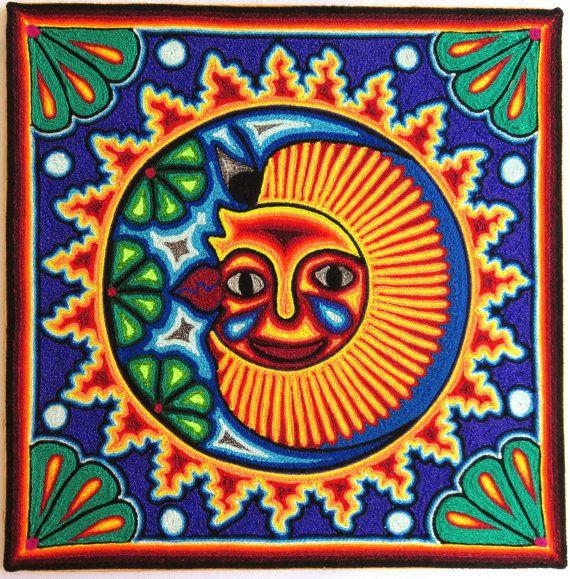 "12"" Mexican Huichol Sun and Moon yarn painting 30 - 001 J ..."