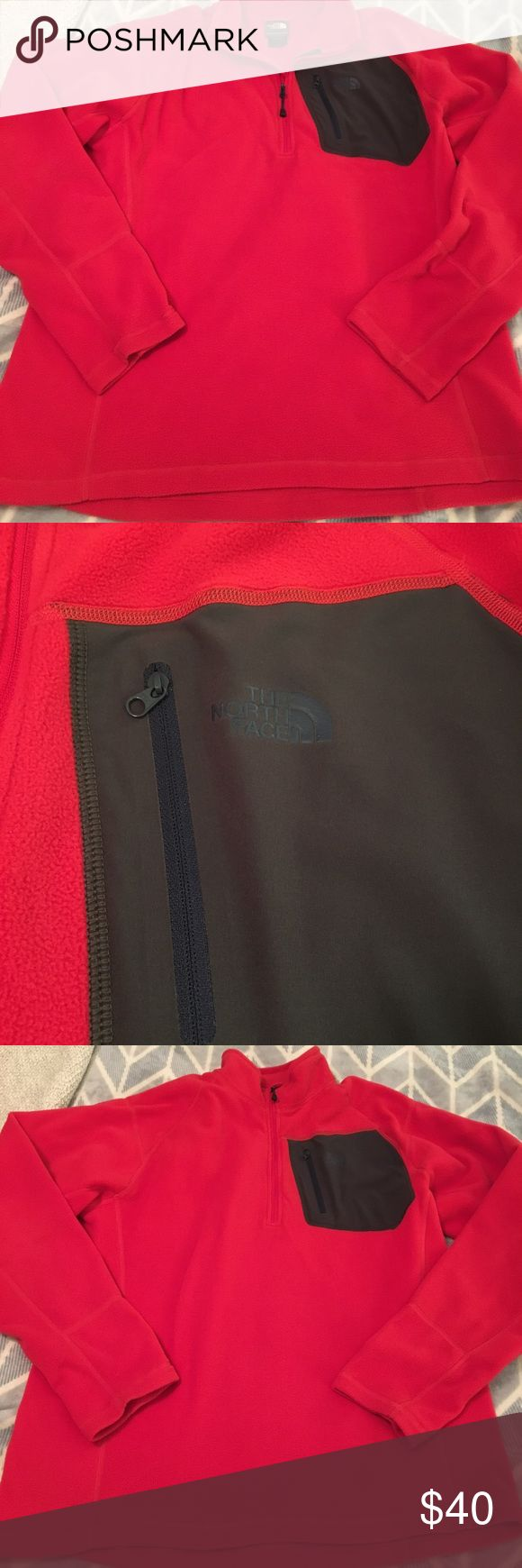 The North Face Fleece Pullover Men's red North Face fleece Polartec Classic pullover, great condition, no flaws, worn probably a total of 2 times. The North Face Jackets & Coats Performance Jackets