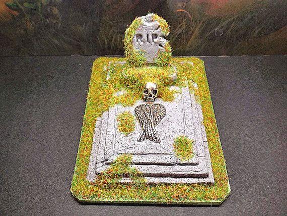Miniature tomb cemetery, gothic dollhouse decor, 1:12 scale, polymer clay, haunted garden, macabre dolls, unique diorama, Halloween idea