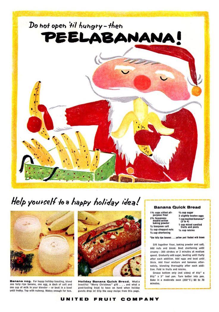 United Fruit Company Banana Quick Bread recipe Christmas advertisement 1957