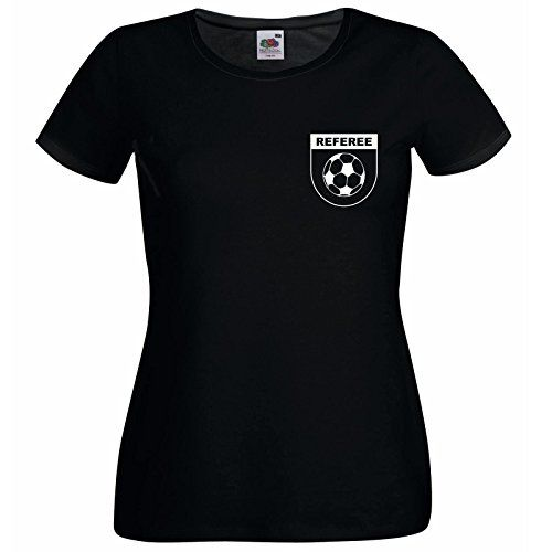 buy now   £9.95   Ladies Black Football Referee Sports Supporter Fan T Shirt & FREE Whistle Available in sizes: XS, Small, Medium, Large & XL     ...Read More