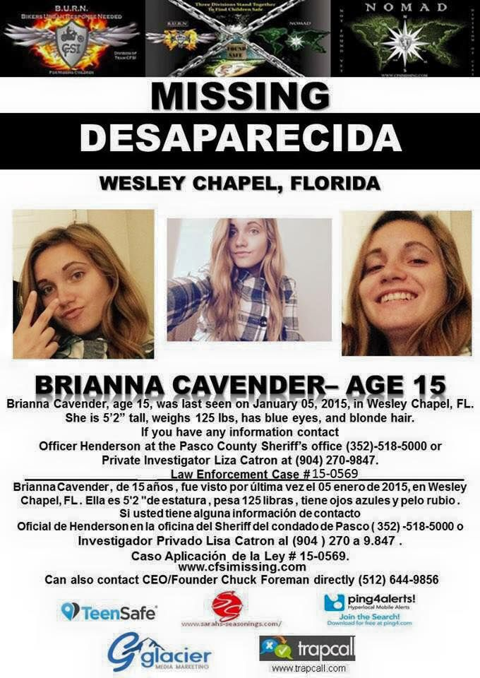 Missing 15 Year Old Girl Found: FOUND SAFE!...1/5/2015: Brianna Cavender, Age 15, Is