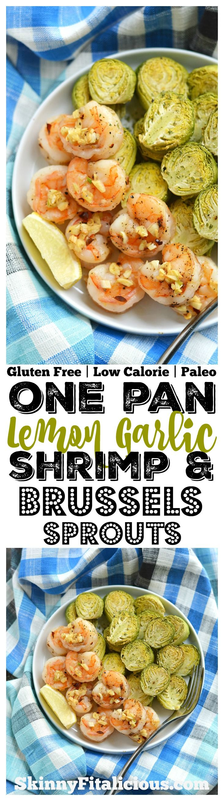 Healthy One Pan Lemon Garlic Shrimp & Brussels Sprouts! An amazing flavor combination of tender, garlicky shrimp that comes together in 20 minutes! Gluten Free + Low Calorie + Paleo