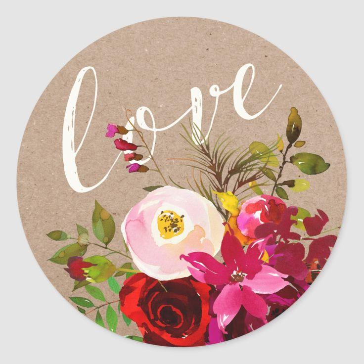 STICKER Elegant Floral Rustic Boho Love Wedding