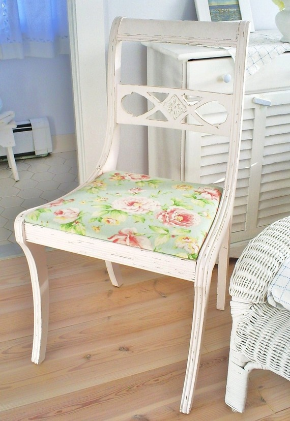 Shabby Chic chair=paint all mismatched chairs white w/the chalk paint. love that fabric of the seat