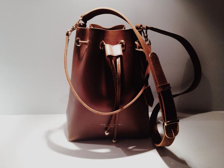 Thalia Strates Mini Bucket Bag in cognac and gold finishes