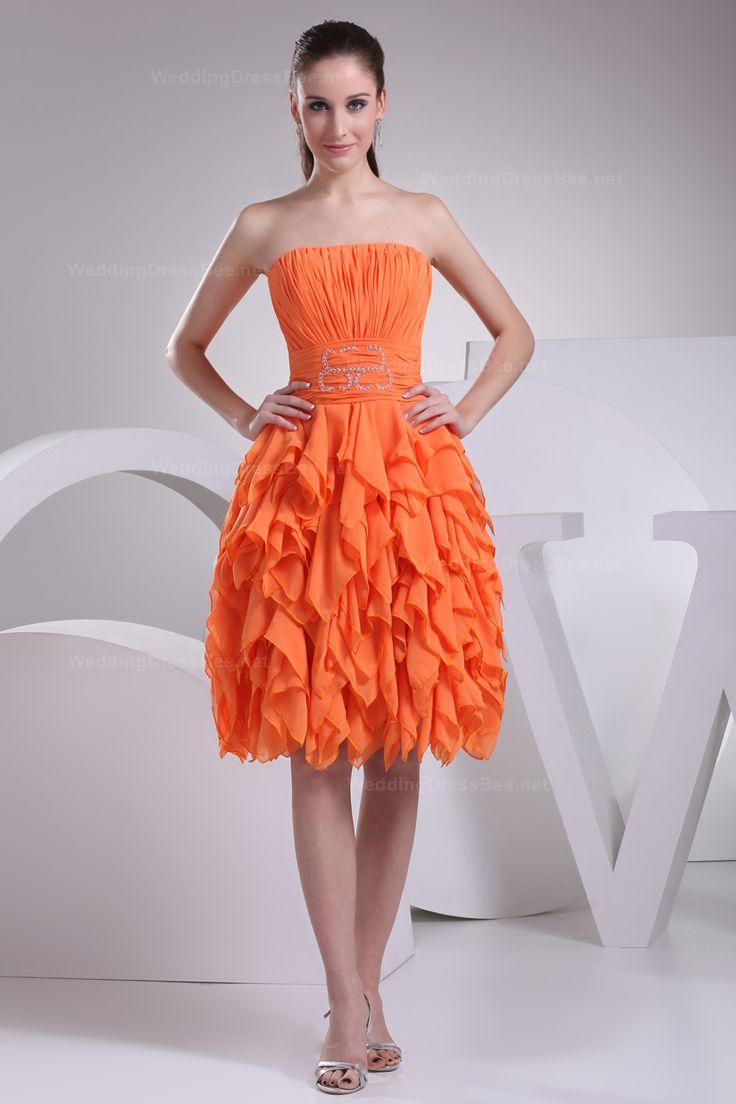 Elegant strapless multilayer skirt knee-length chiffon bridesmaid dress