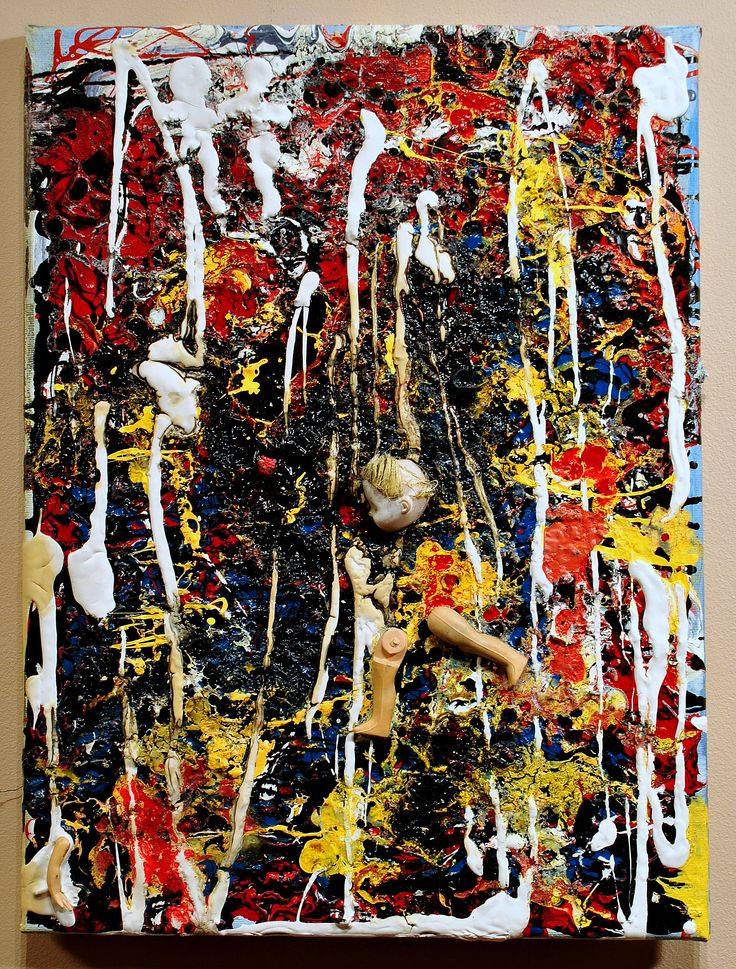 w.sito- Kobiety przy sianokosach (mixed media, human parts & garbage on canvas, 30x30cm)