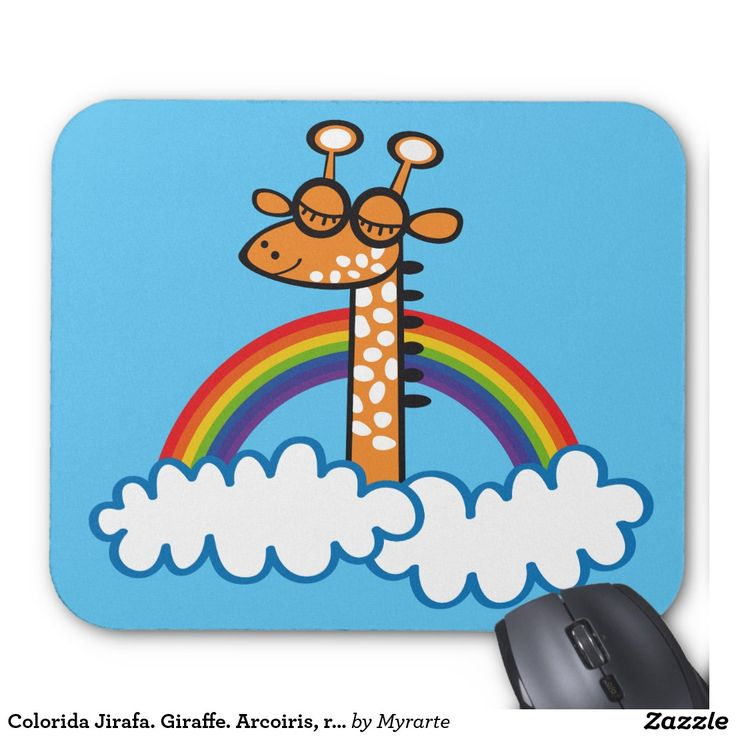 Colorida Jirafa. Giraffe. Arcoiris, rainbow. Regalos, gifts. #Mousepads.