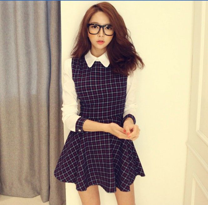 Now Everyone Wants To Dress Beautiful And Attractive In Winter Show Her Unique Character So This England Hot Sale Plaid Doll Collar Patch Work Natural