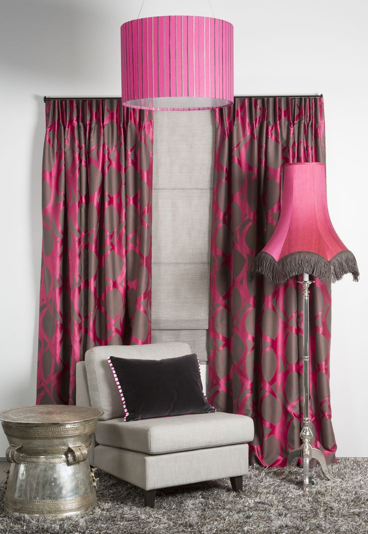 """This stunning display of """"Lola"""" curtains is teamed with a roman bind made up in """"Linear"""".  Pendant lamp is made from fabric """"Calm"""" and the floor lamp is made from fabric """"Luxury"""". www.lahood.co.nz"""