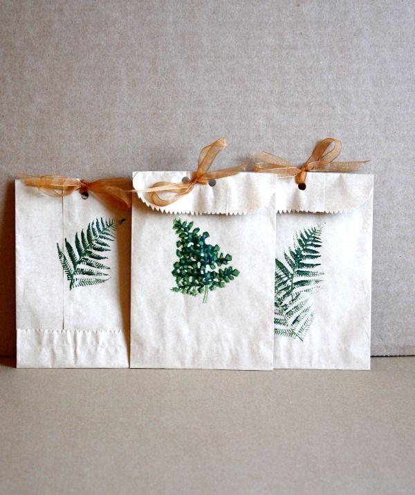 DIY Fall Leaf Stamped Bags