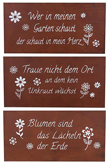 Schilder 3er Set Eisen Rost B x H 40x20cm Rotbraun Garten Deko Sprüche Wanddeko …