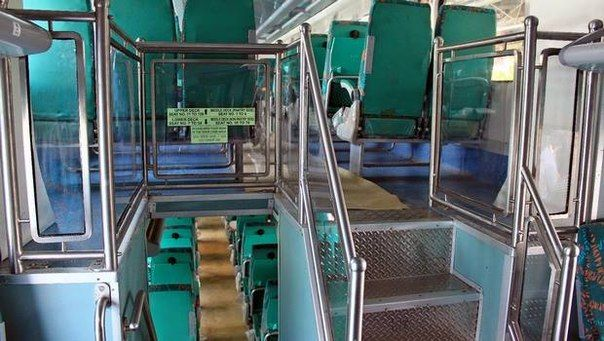 The double-decker trains in India : 1. The Ahmedabad-Mumbai, 2.  Bhopal-Indore, 3. Chennai-Bangalore, Hyderabad-Guntur 4., 5. Calcutta-Dhanbad, 6. Delhi-Jaipur, 7. Hyderabad  -Tirupati 8. Mumbai,-Surat. The trains are equipped with soft seating and air conditioning. The cost of the trip same with a normal  class AC Chair.