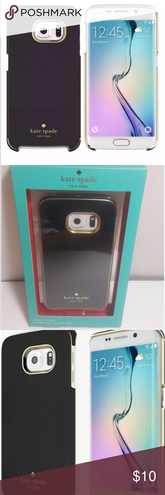 Black Gold Kate Spade Samsung Galaxy S6 Edge Case Damaged box, case is new Black and Gold Kate Spade New York wrap snap case cover for Samsung Galaxy S6 Edge kate spade Accessories Phone Cases