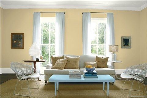 Look at the paint color combination I created with Benjamin Moore. Via @benjamin_moore. Wall: Amulet AF-365; Trim: Intense White OC-51; Table: Marlboro Blue HC-153; Ceiling: Intense White OC-51.