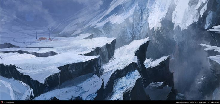 Snowy terraforming. A couple of drawings i did trying to exercise my brush strokes and composition. Was thinking about creating a frozen world going trough some severe climate changes. Behance: http://www.behance.net/dinusilviuadrian